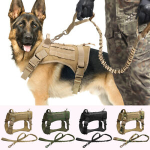 Military Tactical Dog Harness and Lead Set Large Dogs Training Mesh Molle Vest
