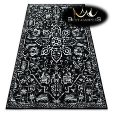 ORIGINAL Designer Rug 'RETRO' CHEAP Vintage carpets HE184 Flowers black cream