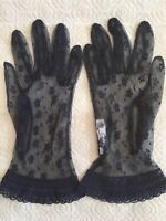 Cornelia James Dark Blue Lace Gloves Size 7 1/2 Wedding Formal-Ex Condition