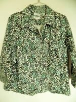 Christopher Banks  Green Brown Floral 3/4 Sleeve Button up Top Shirt Jacket Sz L