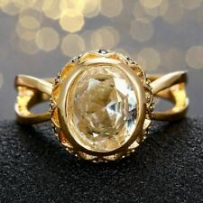 Fashion 925 Silver Gold Plated Oval Sapphire&White Topaz Gemstone Jewelry Ring!!