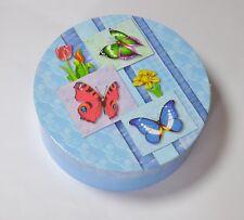 blaue Geschenke - Box mit Schmetterlings - Motiv ø ca. 22,3cm JES Collection