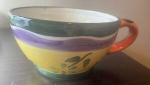"Tea Pot Hand painted Coffee or soup mug 3"" Tall, 5"" Wide"