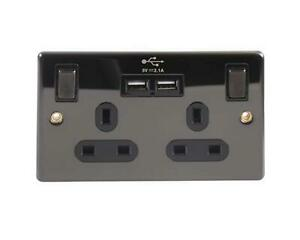 Black Nickel Double Gang UK power socket with Twin USB Charging Sockets 2.4 Amp