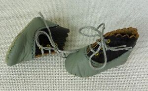 Tiny 35mm ALL LEATHER SHOES  for ANTIQUE DOLL , ITALIAN LEATHER, SHOES,