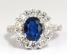 GIA 3.67CT NATURAL VIVID ROYAL BLUE DIAMONDS RING CLUSTER HALO 18KT +