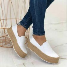 Women Casual Canvas Pumps Slip On Platform Trainers Flats Loafers Shoes