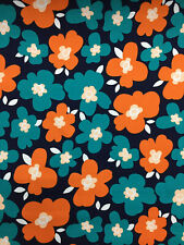 "Navy Blue & Orange ""Ada"" Flowers Floral Printed 100% Cotton Poplin Fabric."
