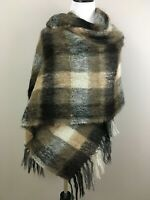 JEANNE DELAHAYE Brown  Mohair Wool Blend Shawl Wrap Made In Great Britain Large