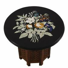 "18"" Black Marble Table Top With Stand Coffee Center Inlay Lapis Mosaic Home"
