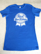 NEW PABST BLUE RIBBON BEER BLUE TEE T-SHIRT SMALL S Life is Good softness!