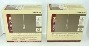 PORTFOLIO (2 ct) Recessed Pendant Light Conversion Kit w.Shade Fitter-Nickel-NEW