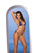 Lycra Bikini Top & Matching G-String with Rhinestone Accent. String Swimwear.