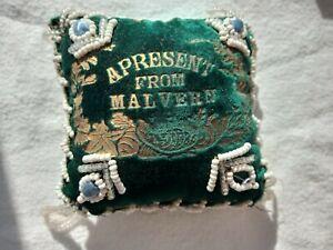 VINTAGE VELVET BEADED PIN CUSHION SOUVENIR OF MALVERN