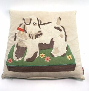 Cath Kidston Appliquéd & Embroidered Felt Stanley Dog Cushion Rare