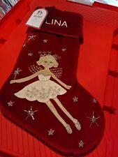 Pottery Barn Kids Holiday Ballerina Velvet Stocking NWT Monogram Lina