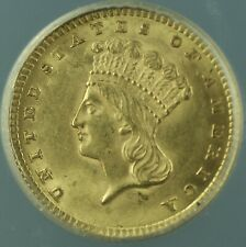 1857 Type III Indian Princess Gold $1 Dollar Coin ANACS MS-62 Better Coin