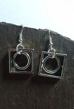 1 x Pair Dangle Earrings - Geometric Circle & Square