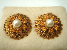 BOUCLES D'OREILLES STRASS JAUNE ET PERLE VINTAGE 50 NEUF/OLD NEW PEARL EARIRNGS