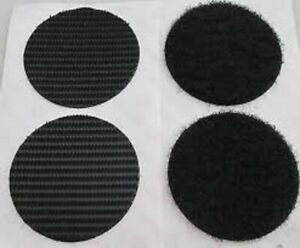 Velcro® PS14 Black Self Adhesive Discs Coins pads Dots 40mm 6 hook and 6 loop
