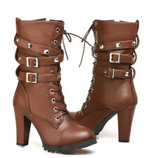 High Heel Women's Mid Calf Combat Boots Military Buckle Motorcycle Ankle Rivet