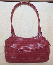 Maxx New York Shoulder Bag Burgundy Croco Embossed Leather Purse