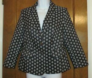 Vince Camuto black white diamond print blazer size 8 career ladies