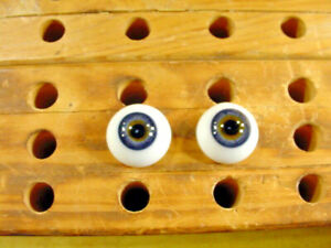 a pair vintage solid doll glass eyes 20 mm for bisque doll doctor age1910 A 6229