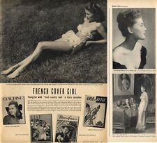 1946 French Cover Girl Model Lise Bourdin Bathing Suit PRINT AD