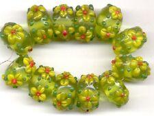 Green w/ Yellow Daisy Rondelle Lampwork Beads 12pcs