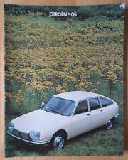 CITROEN GS GAMME 1978 1979 uk MKT la brochure commerciale