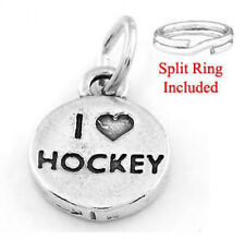 "STERLING SILVER ""I LOVE HOCKEY"" CHARM WITH SPLIT RING"