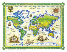 "19.5 x 25"" World Vintage Look Map Printed on Frenchtone Parchment Paper-GRN"