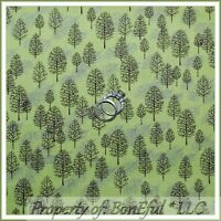 BonEful Fabric FQ Cotton Quilt Winter Scenic Forest Wood Tree Brown Silver Green