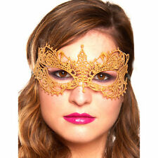 GOLD Cotton Lace Venetian Masquerade Eye Mask Fancy Dress Costume Accessory