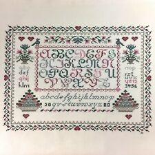 Ella's Sampler completed finished cross stitch on evenweave Pat Rogers
