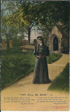 Bb-120 Thy Will Be Done, Christian Bible, Woman, 1907-1915 Golden Age Postcard