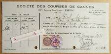 Société des courses de Cannes - Reçu 1936 de M. Garel bijoutier chevaux - fiscal