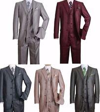 Men's Shark-skin Fashion Suit 3 button Edged Notch Lapel Jacket with Vest&Pants