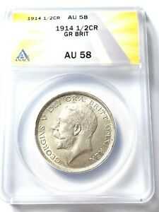 Nice High Grade 1914 Great Britain 1/2 Crown Graded by ANACS as AU-58 KM 818.1 !
