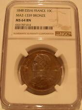 France 1848 10 Centimes NGC MS-64 BN Essai Bronze Maz-1339