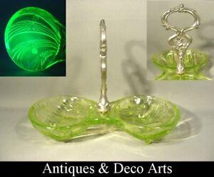 Uranium or Vaseline Glass 2 Lobbed Serving Bowl with Handle