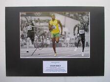 USAIN BOLT OLYMPIC & WORLD CHAMPION HAND SIGNED A3 MOUNTED PHOTO DISPLAY - COA
