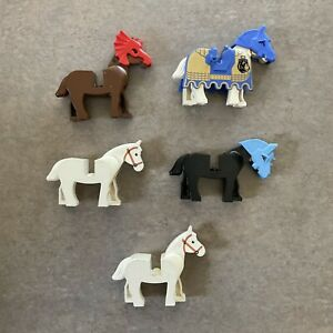 Lego Horse Lot White, Black and Brown With Accessories S2