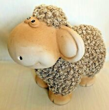 Fluffy Brown Sheep Figurine Ceramic & Fur Adorable Home Decor Great Gift! GLOBAL