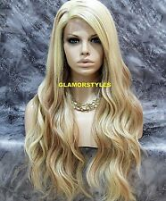 Long Wavy Bleach Blonde Mix Full Lace Front Wig Heat Ok Hair Piece # 613.27 NWT