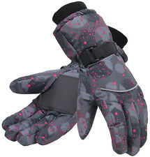 Women Warm Waterproof Fingers Ski Gloves Ladies Winter Snow Mittens