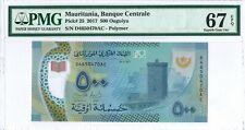 Mauritania 500 Ouguiya 2017 PMG 67 EPQ s/n D4650470AC Polymer