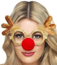 Lustige Rentier Brille mit roter Nase und Geweih Weihnachten Weihnachtsfeier