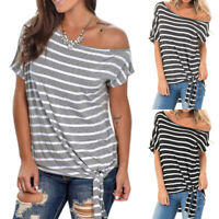 Womens Tie Front Short Sleeve Off Shoulder Blouse T Shirt Loose Striped Tee Tops